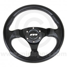 Mountney Mini steering whee - Black Moulded & Black Spokes