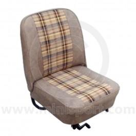 Front Seat Covers - Pair - Vinyl & Cloth Gold Tan Plaid - Mini 73-80