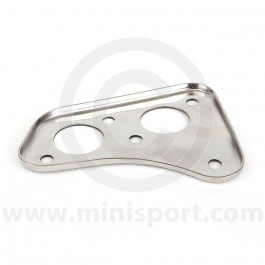 Mini 1976-89 dual line type brake master cylinder and engine steady bar mounting plate, that fits to the engine bay bulkhead.