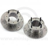 "21A1265D X-drilled 7.5"" Mini front brake discs for Mini Cooper S and early 1275GT models with 10"" wheels (GBD101)."