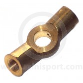 21A654 Brass 2 way brake union that bolts to the front subframe on single brake line type Minis.