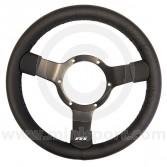 Classic Mini Traditional 300mm steering wheel - Black Vinyl & Black Spokes MON23SBVB by Mountney