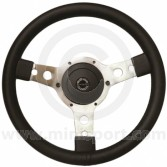 "Sport Steering Wheel - 13"" - Black Leather - Semi Dished"