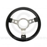 MON33SPVB Mini Mountney Black Vinyl Steering Wheel - 320mm Polished Spokes