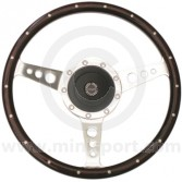 "Spring Alex 13"" Walnut steering wheel with rivets"