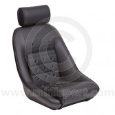 Mini Classic RS 40 & Headrest - Black Soft Grain Vinyl outers/Hounds-tooth centres/ Black Soft Grain Vinyl Piping