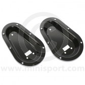 Black Recessed Bonnet Pin Plates - Pair GRAGE515BL