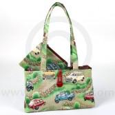 HERMINIHBGRN/ZIP Mini Cotton Green Zip Up Handbag and purse combo with Classic Mini design