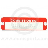 LMG1018S Red commission plate, specially reverse stamped to your Minis commission number, perfect for restoration projects.