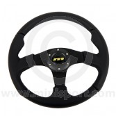 MONM34M311B Mini Mountney M Range Leather Steering Wheel - 340mm Black Spokes
