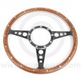 "13"" Flat Woodrim Steering Wheel with Polished Spokes"