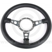 "13"" Dished Black Leather Steering Wheel with Polished Spokes"