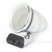 Adjustable Chrome Bullet Mirror - Flat Lens - Rover Door Mount Fitting - RH