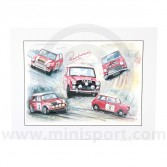 Paddy Hopkirk - Andy Danks Montage Print - 1991 - Signed by Paddy Hopkirk
