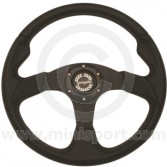 Spring Alex 320BCRS Black Steering Wheel Red Stitching - 320mm