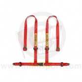 Sabelt Clubman 4 Point Harness - Bolt Fixing - Red - with Harness Pads