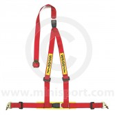 Sabelt Clubman 3 Point Harness - Snap Hook Fixing - Red
