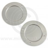 "SMB106 Mini fresh air vent blanking plates, manufactured from mild steel approximately 4.25"" diameter."