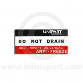 SMB144 Mini Radiaotr - Do Not Drain Sticker