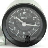 SMICA1100-01B Smiths Classic 12 hour analogue clock, 52mm gauge with black face and black bezel.