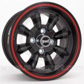 6 x 13 Ultralite Mini Wheel - Black with Red Pin Stripe
