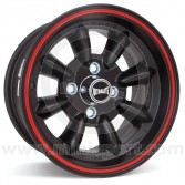 "7 x 13"" Ultralite Mini Wheel - Black with Red Pinstripe"