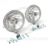 Chrome Drive Lamps with Red Halo