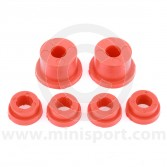 SPDSP664A Uprated poly Mini rear subframe bush kit in red. Fits all models 1976-2001