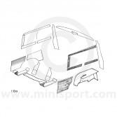 Interior Panel Kit - Rear - Mini Traveller With Internal Fuel Tank 60-62