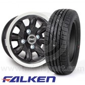 "5.5"" x 12"" black/polished rim Ultralite alloy wheel and Falken ZE912 tyre package"