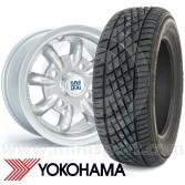 "5"" x 12"" silver original Minilite alloy wheel and Yokohama A539 tyre package"