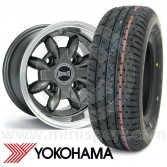 "6"" x 10"" anthracite Ultralite alloy wheel and Yokohama A008 tyre package"