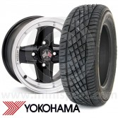 "WTP7X13KIT9 7"" x 13"" black Revolution modular alloy wheel and Yokohama A539 tyre package"