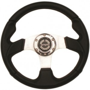 Sport Steering Wheel - 320mm Black with Black Viny and Red Stitching