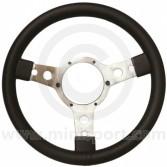 "Sport Steering Wheel - 13"" - Black Leather - Semi Dished"