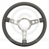 Classic Mini Mountney Black Vinyl Steering Wheel - 320mm Polished