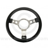 MON33SPVB Mini Mountney Black Vinyl Steering Wheel - 320mm Polished Spokes