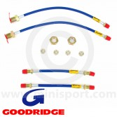 Goodridge Brake Hose - Stainless Aeroquip - Blue - full set of 4