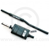 """CLST005B Maniflow 2"""" large bore centre exit twin-box exhaust system for Mini."""