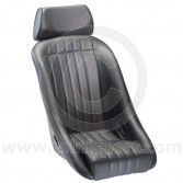 Mini Classic & Headrest - Black Soft Grain Vinyl outers/Black Corduroy centres