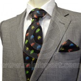 Men's Long Black Silk Tie With Classic Mini design