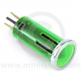 Warning Lights - 12mm push fitting with chrome ring Green