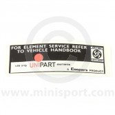 Unipart Air Filter Sticker