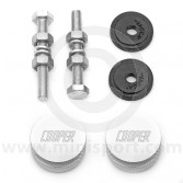 Classic Mini Cooper Knurled & Engraved Grille Buttons - Silver