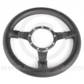"12"" Flat Black Leather Steering Wheel with Polished Spokes"