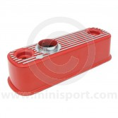 MS0415R Mini A series engine Alloy type rocker cover finished in powder coated red with polished fins.