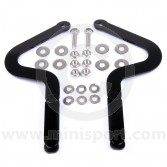 Pair of powder coated bonnet hinges for Classic Mini