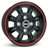 SPDML1PBR Ultralite 5.5'' x 12'' Mini alloy wheel finished matt black with red pinstripe