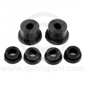 SPDSP664BLK Uprated poly Mini rear subframe bush kit in black. Fits all models of Mini from 1976-2001