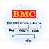 BMC Service Due At Windscreen Sticker